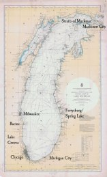 A 1900 chart of Lake Michigan. We've highlighted some of the places that are especially important to our narrative. At the bottom of the lake is Chicago, the metropolis whose explosive growth was so important to the Warrington family. In 1890 the city had just passed a million inhabitants; at one point it was the fifth largest city in the world.