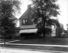 """George Warrington's House in Chicago. The 1900 Census listed his house at 1706 Kenmore Avenue (now 4303 Kenmore Avenue,) in the Buena Park area. There were four occupants of the house: George, his wife Minnie, their ten-year old son Chester, and the servant Julia Carlson. One thing that is striking about these photographs is how """"suburban"""" they look; the American ideal of what a nice neighbourhood looks like hasn't changed that much, even though places like Chicago have urbanised to the point where such neighbourhoods are unattainable to the vast majority of people."""