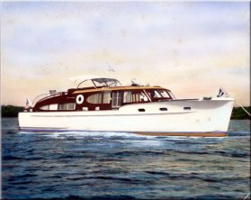 "The Cavalla, Chet's last ""major"" yacht. Another Chris Craft, It was 48' long, 13' beam and 3' 6"" draught. It was the flagship of the Chicago Yacht Club when Chet was Commodore in 1950."