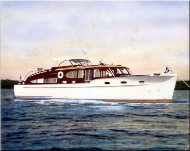 """The Cavalla, Chet's last """"major"""" yacht. Another Chris Craft, It was 48' long, 13' beam and 3' 6"""" draught. It was the flagship of the Chicago Yacht Club when Chet was Commodore in 1950."""