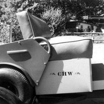 The golf cart, along with everything else Chet had, had his initials stencilled on it. (Take a good hard look to the left of the URL at the top of the screen, and you'll see some things don't change.) Also armorially positioned are the crossed Chicago Yacht Club and Warrington family burgees, another conceit we've retained on this site. Myrtle wasn't very enamoured with the practice: she declared that, if she ever fell asleep on Chet, he would stencil her bottom!
