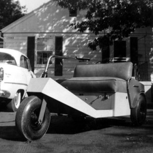 Golf cart, 1950's style. Cracker Box Manor may not have been large, but Chet insured that it had all of the amenities.