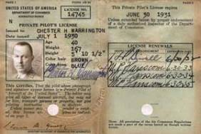 Chet's pilot's license, his ticket to the adventure of aviation. It is interesting to note that Congressional's manager, R.H. Clement, didn't get his license until June 1932, even though he flew during World War I.