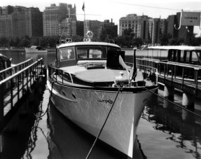Chet's yacht Courier at its berth at the Chicago Yacht Club. Although the Courier was suitable for a Commodore of the time, Chet opted to sell the Courier and purchase the Cavalla for his Flagship as Commodore. Note the name for the yacht on the slip; in addition to helping guests to find the craft, it was doubtless a boon to owners who spent a little too much time at the bar... Among the many prominent Chicagoans to dock their boats at the Chicago Yacht Club in Chet's day was Charles R. Walgreen, Jr., of pharmacy fame.