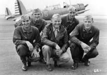 Another Cal-Aero Academy Group photo, Class 42H. Left to right: W.M. Rumsey, CA; N.C. Pederson, IA; W.E. Thompson (Instructor;) J.J. Pursel, NE; and D.G. Shofner, AR. Gaston was being trained as a pursuit pilot at this stage in his training.