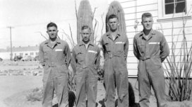 Group at Williams Field, February 1942. Left to right: Mozart Kaufman, Albert Prator, Van Kimbrough, Gaston Shofner.