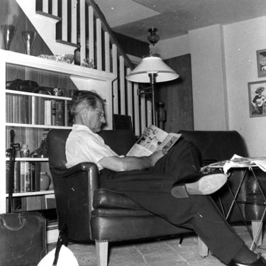Earl Steinhauer at Cracker Box Manor, 1957.
