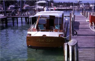The Pem-Don I from the stern. A good view up the marinas of Bimini in the early 1960's.