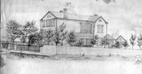 The house at 127 (later 1840) Park Avenue, Chicago, where Henry Warrington raised his family. This is a sketch of the house by William H. Warrington dated around 1863-4.