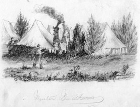 Winter Quarters: the Civil War was fought far from Lake Michigan's shores, but many of her sons would serve in the Union army. A sketch by George's brother William H. of winter quarters during that conflict.