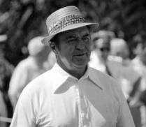 A close-up of Sam Snead with his signature straw hat.